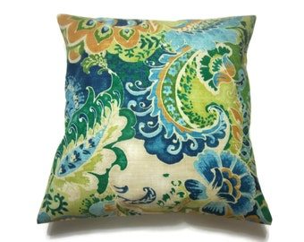 Decorative Pillow Cover Blue Green Ivory Modern Paisley Same Fabric Front/Back Lime Green Navy Blue Sky Blue Emerald Green Gold,18x18 inch x