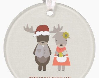 Personalized Family Moose Ornament Christmas Ornament Personalized Ornament Moose Family New Baby Ornament Wedding Ornament Christmas RyElle