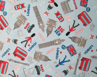 UK Sites London Blue Royal Wedding Cotton Fabric Fat Quarter or Custom Listing