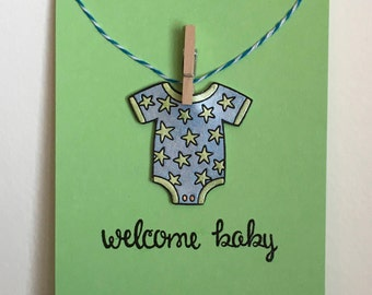 Baby Shower Card -  New Baby Card - One of a Kind Card - Luxury Card - Unique Card - Star Onesie Card