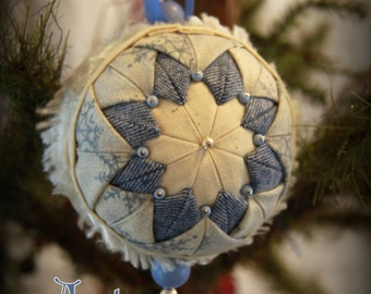 Handmade Quilted & Beaded Christmas Ball Ornament Blue Tones
