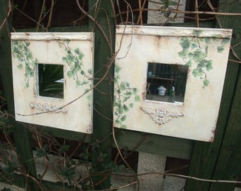 set of 2 wooden framed mirrors,wall mirrors,decoupage IVY paper napkins,wall art decoration,molding decors,IVY decorated mirrors,home decor