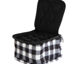 """Essential Oil Carrying Case, 3"""" High, 5ml, 16-Bottle, Pattern, Black/White Check"""