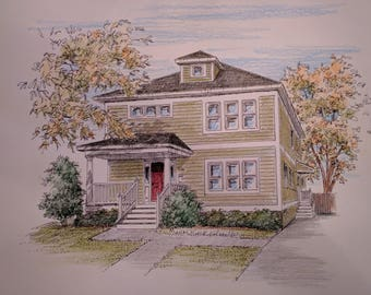 Pen and Ink Drawings of One's Home in Black and White or Color