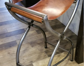 Leather Bar Stool: Directors Chair