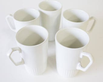 MCM Vintage Espresso Cups, White Ceramic Set of 5, Made in England