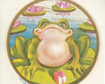 SALE Vintage Illuminations Frog on a Lilypad Sticker - 80's Lily Toad Pond