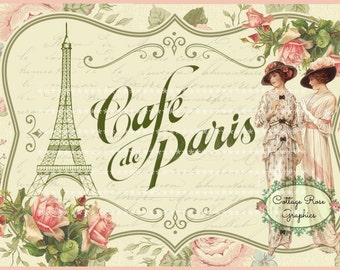 Cafe' de Paris LARGE printable digital image download Eiffel tower French script pink roses Buy 3 Get one Free