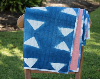 Indigo Shibori Quilt for Baby or Wallhanging, Hand-Dyed Organic Cotton