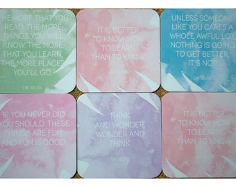 Coasters with Dr. Seuss Quotes Set of 6 - Drink Coasters - Personalized Paper Drink Coasters - Dr. Seuss