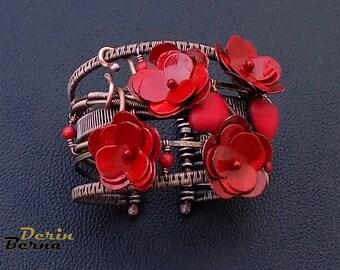Red flower women bracelet,wire wrapped Poppy flower coral bracelet,red womens bangle bracelets,Red Coral charm copper bracelet,Red Bracelet