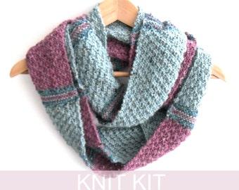Cowl Knitting kit , UK seller , DIY kit , Scottish knit kit , Women's fashion infinity scarf pattern , knitters supply gift