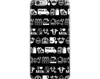 I Love Milk Cow Black and White Kawaii iPhone Case