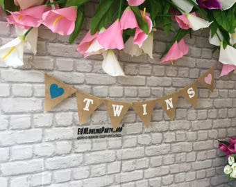 Twins  Photobooth Banner Burlap Hessian Banner,36 colours ,Photo booth, New Baby, Its a banner .