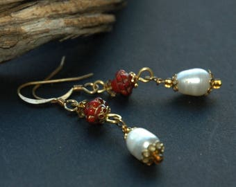 Freshwater Pearl Earrings Accented with Gold and Cinnabar, Baroque Pearl Drops,East Indian Style Pearl Drop Earrings, Delicate, Boho Style