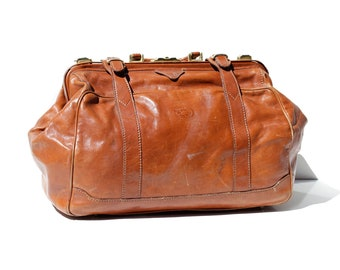 Vintage ITALIAN Topaz Brown Leather Travel Bag