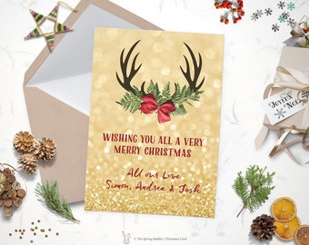 Printable Gold glitter and Antlers Christmas Card - Holiday Card - 5 x7 - Do it yourself Customizable Printable Christmas Card