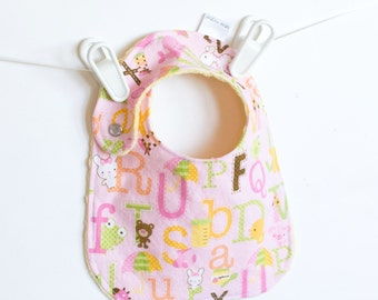 Girl Baby Bib, Adjustable Bib with Minky ABC Sweet Baby Girl