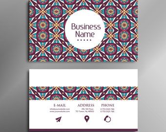Printable stylish elegant HENNA STYLE, boho, vintage business card, calling card for your business
