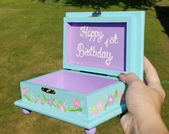 Blue and purple Personalized Child's Jewelry Box Wood Box Girls Pink and Gray Nursery Decor