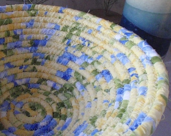Yellow and Blue Coiled Fabric Basket - Catchall, Floral Print, Cottage Chic, Handmade by Me