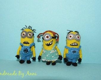 Minions - miniture minions set of 3 handmade micro minions collectable minions small minions dollhouse toys figures minions