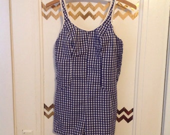 Cute Gingham Navy and White Vintage Jantzen Swimsuit Romper