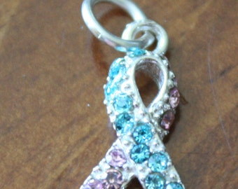 Infant Loss Ribbon-Sterling Silver- Pink and Blue- Pregnancy Loss Gift- Awareness Ribbon Jewelry
