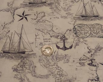 Nautical Map Fabric
