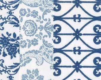 Vintage Flocked Wallpaper - Blue Assortment