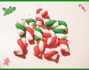 15 miniature cables Fimo polymer clay for jar - Christmas