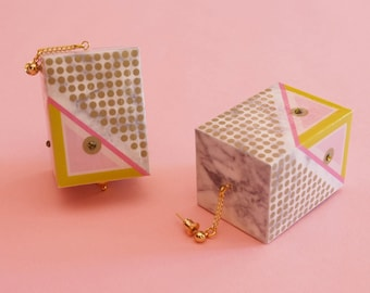 "Geometric Earrings // Marble Earrings // Mod Earrings // Huge Earrings // Op Art Earrings // Art Deco Earrings// The ""Rudi"""