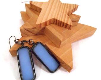 Blue Earrings Stained Glass Earrings Blue Glass Earrings Glass and Metal Earrings Periwinkle Earrings Handmade Earrings Dangle Drop Earrings