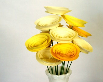 Sunshine Paper Flower Arrangement, Medium Paper Flowers in Yellow and Ivory, Cheerful Eco Friendly Home Decor