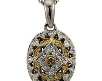 Diamond Necklace Diamond Pendant With Diamonds & Yellow Sapphires In 14k Gold