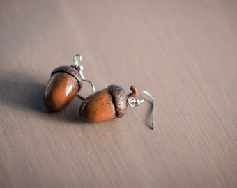 Acorns - Polymer Clay Dangle Earrings
