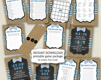 Rustic Bow Tie Baby Shower Game Package, burlap baby shower games, boy baby shower game pack, printable baby shower games