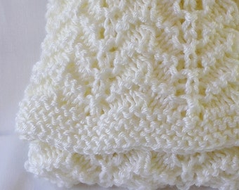 Cream Baby Blanket Afghan, Newborn Size, Handknitted in Creamy Eggshell White, Rippled.