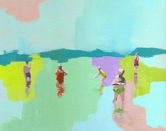 Fresh - art print of figurative abstract painting | people in the beach sea water swimming | pastel seascape living room decor