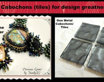 T-004 - Gun Metal Glass Cabochons (4) - 22 x 22 mm - Perfect for bead embroidery, wire wrapping and scrapbooking