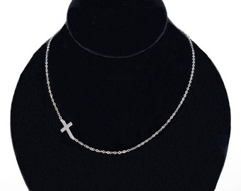 Sideways Cross Necklace - Set Off Center - Sterling Silver - As Seen On Taylor Jacobson