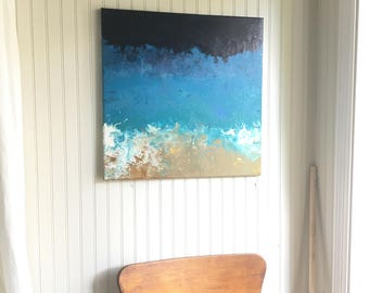 20x20 Oceanic Blue Topography Acrylic Painting