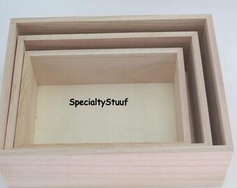 3 New Rectangle Wood Box Unfinished Paulownia Wood Small Medium Large Nesting Set 3 or Individual Shadow Box Storage