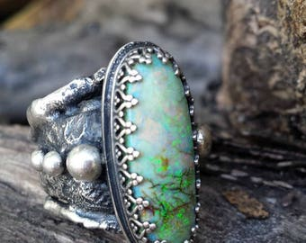 Beautiful rugged and rustic silver Monarch opal ring