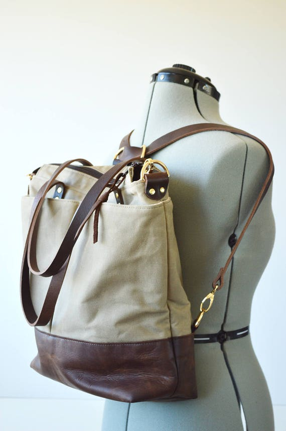 Popular Waxed canvas backpack tote bag / Converts from backpack to IL25