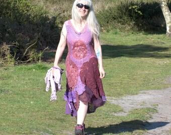 Lilac and Burlesque Rose Crochet Cotton Dress Festival Handmade Bohemian Boho Hippy Gypsy