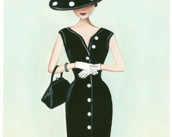 Print of my original painting of a vintage woman in pencil dress and polka dot hat