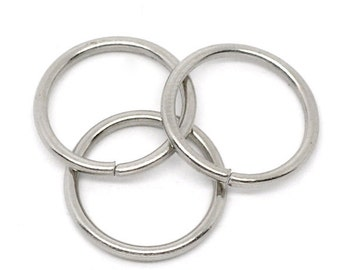 25 Extra Large 16mm Jump Rings, Antique Silver Tone (1T-69)