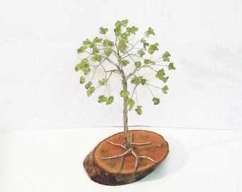 Peridot Wire tree, Beaded tree, Gem tree, Bonsai tree, Wire sculpture, tree of life, Leo gem, cake topper, August birthstone, unique gift