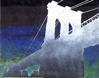 Print Brooklyn Bridge / Gray / Blue / Brooklyn / 8 x 10 PRINT / Bridges / NYC